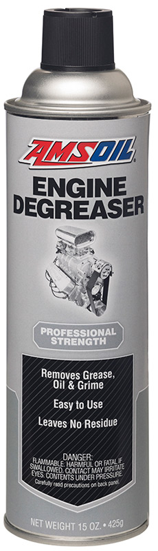AMSOIL Engine Degreaser. Spray it on and wash off with water.